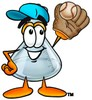 A beaker with a ball and baseball mitt clipart