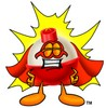 A fishing bobber in a superhero costume clipart