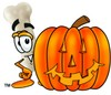 A bone and a halloween pumpking clipart