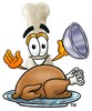 Bone Cartoon Character Serving a Thanksgiving Turkey clipart