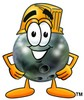 A bowling ball wearing a hardhat clipart