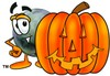 A bowling ball and halloween pumpkin clipart
