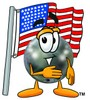 A bowling ball and american flag clipart