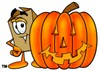 A box and a jack-o-lantern clipart