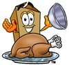 A box with a roast turkey clipart