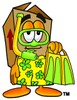 A box going swimming clipart