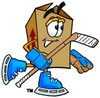 A cartoon illustration of a hockey playing box clipart