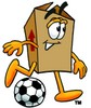A box with a soccer ball clipart