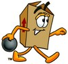 A box with a bowling ball clipart