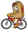 A box on a bicycle clipart