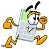 A running cartoon calculator clipart