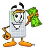 A calculator holding a dolloar bit clipart
