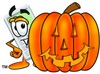 A calculator behind a jack-o-lantern clipart