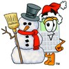 A calculator and snowman clipart