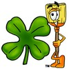 A broom with a clover clipart