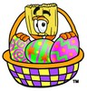 Broom Cartoon Character With Easter Eggs in a Basket clipart