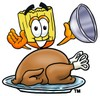 Broom Cartoon Character Serving a Thanksgiving Turkey clipart