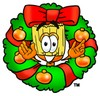 Broom in a wreath clipart