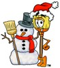 A broom and a snowman clipart