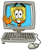 Cartoon broom in a computer clipart
