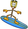 A cartoon broom on a surfboard clipart