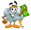 A cartoon illustration of a storm cloud with money clipart