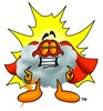Cloud Cartoon Character Wearing a Super Hero Costume clipart