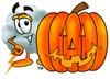 Cloud Cartoon Character With a Halloween Pumpkin clipart