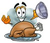 Cloud Cartoon Character Serving a Thanksgiving Turkey clipart