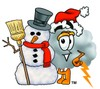 Cloud Cartoon Character With a Snowman clipart