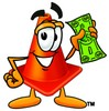 Cone Cartoon Character Holding Cash clipart
