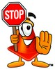 Cone Cartoon Character Holding a Stop Sign clipart