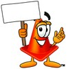 Cone Cartoon Character Holding a Blank Sign clipart