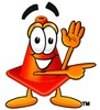 Cone Cartoon Character Giving Directions clipart