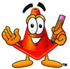 Cone Cartoon Character Holding a Pencil clipart