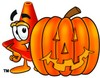 Cone Cartoon Character With a Halloween Pumpkin clipart