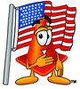 Cone Cartoon Character With an American Flag clipart