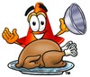 Cone Cartoon Character Serving a Thanksgiving Turkey clipart