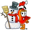 Cone Cartoon Character With a Snowman clipart