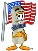 Diploma Cartoon Character With an American Flag clipart
