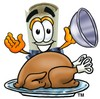 Diploma Cartoon Character Serving a Thanksgiving Turkey clipart