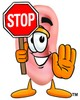 Ear Cartoon Character Holding a Stop Sign clipart