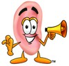Ear Cartoon Character Holding a Megaphone clipart