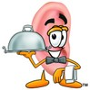 Ear Cartoon Character Holding a Serving Platter clipart