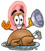 Ear Cartoon Character Serving a Thanksgiving Turkey clipart