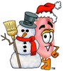 Ear Cartoon Character With a Snowman clipart