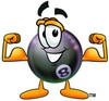 Eight Ball Cartoon Character Flexing His Muscles clipart