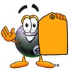 Eight Ball Cartoon Character Holding a Yellow Price Tag clipart