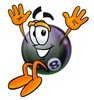 Eight Ball Cartoon Character Jumping clipart