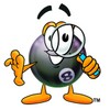 Eight Ball Cartoon Character Looking Through a Magnifying Glass clipart